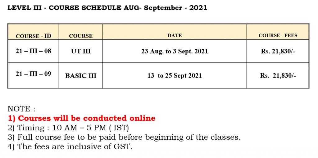 August Schedule - Level 3