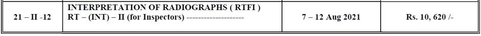 RT Int level 2 schedule August